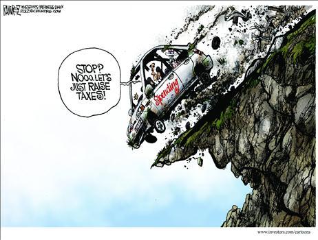 Political Cartoon - 2012 11 18 - Fiscal Cliff, Stop, No