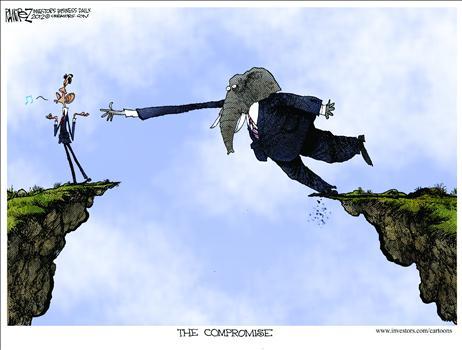 Political Cartoon - 2012 11 30 - Fiscal Cliff, Reaching
