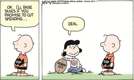 Political Cartoon - 2012 12 00 - Fiscal Cliff, Charlie Brown