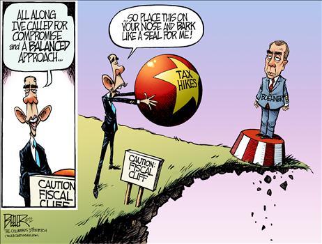 Political Cartoon - 2012 12 04 - Fiscal Cliff, Balanced