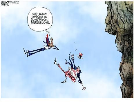Political Cartoon - 2012 12 10 - Fiscal Cliff, Blame Republicans
