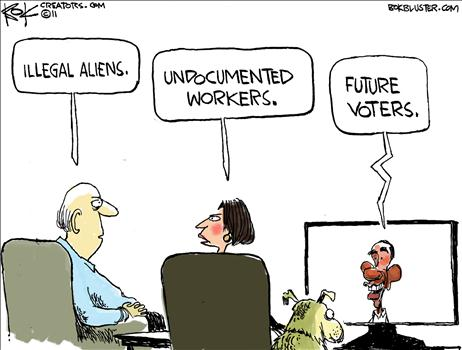 Political Cartoon - Illegal Immigrants - Future Voters