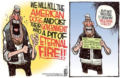 Political Cartoon - Wellfare for Terrorist
