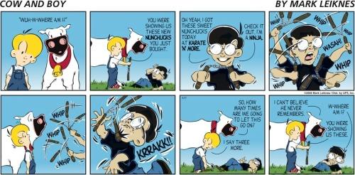 Comic - Cow and Boy - Nunchucks
