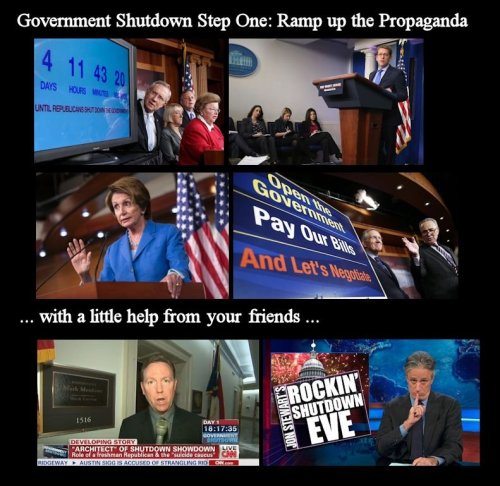 Government Shutdown - Step One - Propaganda Machine Steps and Rules used by the left during Government Shutdowns