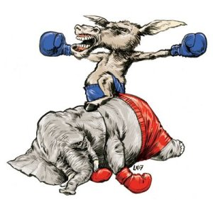Political - Donkey & Elephant - Boxing, Donkey Wins