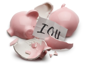 Wealth - Piggy Bank - Broken - IOU
