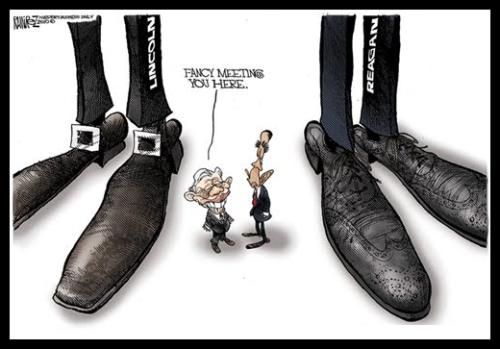 Political Cartoon - Obama Carter at Feet