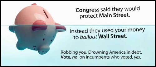 Government Bailout - Piggy Bank in Water