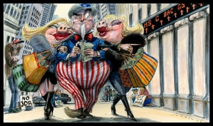 Government Bailout - Uncle Sam and Pigs