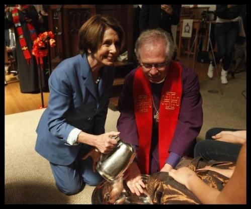 2014 04 18 - Nancy Pelosi Washes Feet