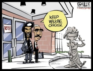 Political Cartoon - Eric Holder - Black Panther Voter Intimidation