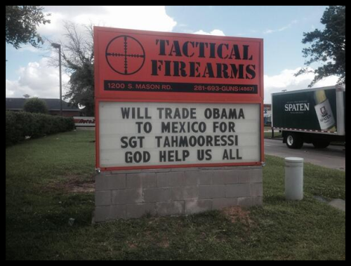 2014 06 00 - Gun Store Sign - Trade in Obama