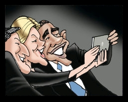 People - Barack Obama - Selfie at Funeral