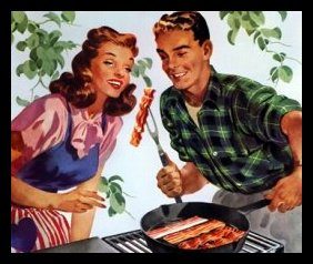 Food - Meat - Bacon - Couple Enjoy on Grill - 50s