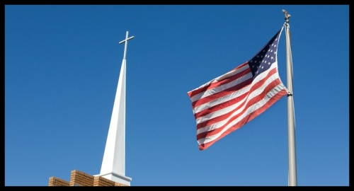 Church State - Steeple and Flag