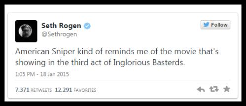 American Sniper Seth Rogen Tweet