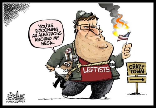 Poltical Cartoon - Michael Moore - American Sniper