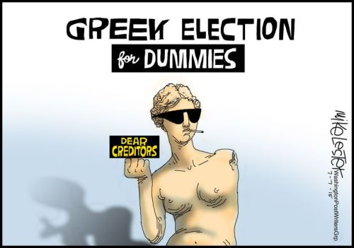 Political Cartoon - 2015 07 07 - Greek Election for Dummies
