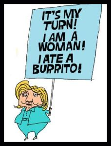 People - Clinton, Hillary - (cartoon) - Holding Sign