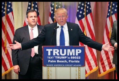 People - Christie, Chris - Screaming - Behind Trump